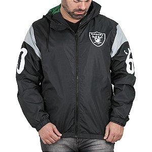 Jaqueta New Era Corta Vento NFL Oakland Raiders Sleeve Preto Tamanho Grande