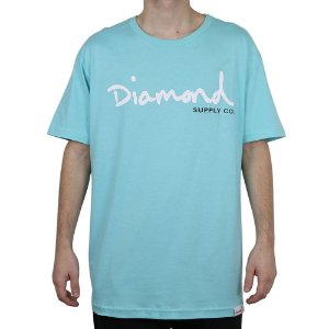 Camiseta Diamond Básica Og Script Blue