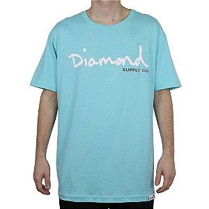 Camiseta Diamond Básica Og Script Blue