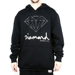 Moletom Diamond Canguru Fechado Og Sign Hoodie Black