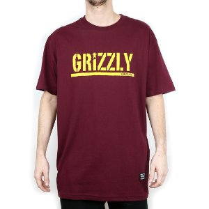 Camiseta Grizzly Básica Stamped Burgundy