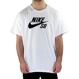 Camiseta Nike SB Básica Logo Skate White/ Black