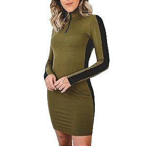 Vestido Riu Kiu Curto Moletinho Colors Ziper Frontal Manga Longa Verde Militar