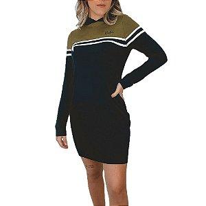 Vestido Riu Kiu Curto Moletinho Colors Faixas com Capuz Manga Longa Preto