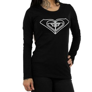 Camiseta Roxy Manga Longa With You Could Preto