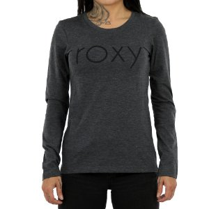 Camiseta Roxy Manga Longa With You Could Cinza Mescla
