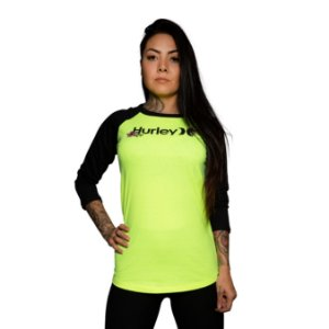 Camiseta Hurley One and Only Manga 3/4 Amarelo Neon
