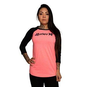 Camiseta Hurley Raglan O&O Manga 3/4 Rosa Neon