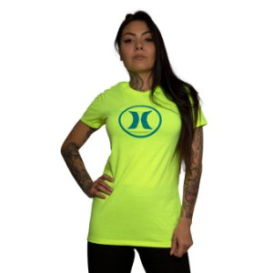 Camiseta Hurley Silk Icon Circle Amarelo Neon