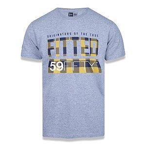 Camiseta New Era Plaid Fitted 59 Fifty Mescla Cinza