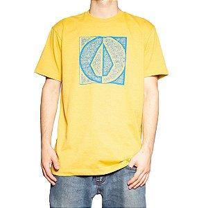 Camiseta Volcom Silk Stamp Divide Amarelo