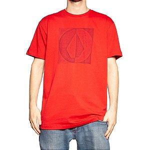 Camiseta Volcom Silk Stamp Divide Vermelho