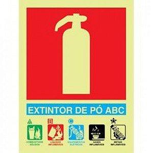 Placa Fotoluminescente De Sinalização Para  Extintores - Extintor De Pó ABC
