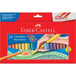 Caneta Hidrográfica Ponta Vai e Vem Faber Castell 24 Cores
