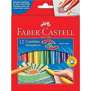 Caneta Hidrográfica Ponta Vai e Vem Faber Castell 12 Cores