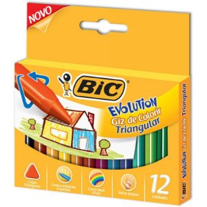 Giz de cera Evolution Triangular 12 cores - Bic.