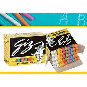 Giz Escolar Color Com 50 Unidades Antialérgico Calac