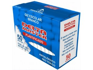 Giz Escolar Branco Delta C/ 50 Unid