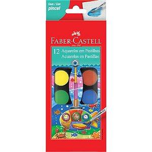 Aquarela Faber Castell Pastilha 12 Cores + Pincel