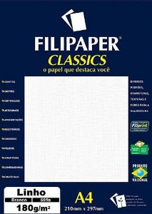 Filipaper Linho 180g/m² (50 folhas; branco)