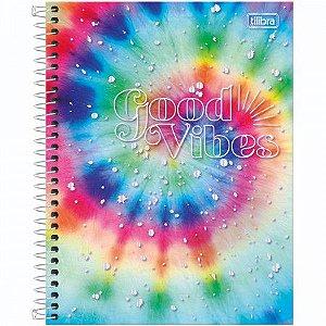 Caderno Espiral Capa Dura Colegial 1 Matéria Good Vibes 80 Folhas