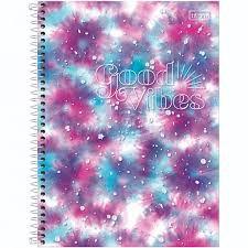 Caderno Universitário 1 Matéria Good Vibes 80 Folhas Tilibra