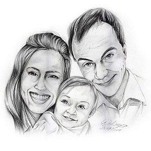 Desenho com três pessoas – Grande