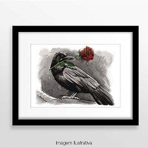 Corvo e rosa - impresso tamanho A4