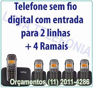 Telefone sem fio digital TS 5150 com entrada para 2 linhas + 4 Ramais