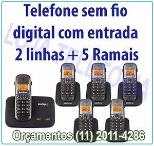 Telefone sem fio digital TS 5150 com entrada para 2 linhas + 5 Ramais