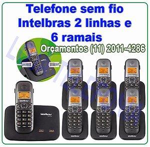 Telefone sem fio digital TS 5150 com entrada para 2 linhas + 6 Ramais