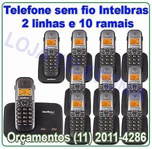 Telefone sem fio digital TS 5150 com entrada para 2 linhas + 10 Ramais