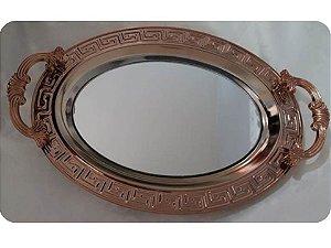 Bandeja Oval Cobre Com Alça e Espelho