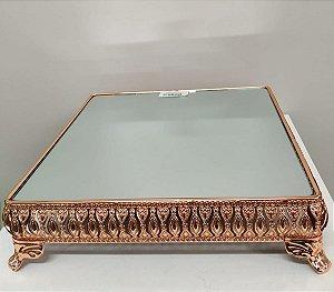 Bandeja com Espelho Quadrada Ouro Rosé