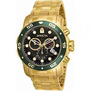 37352ddaad8 Relógio INVICTA 80074 Pro Diver 48mm Banhado a Ouro 18k cronógrafo Verde