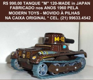 Tanque da marca Modern Toys, Modelo M 120 .Raríssimo.