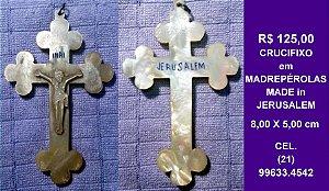 Crucifixo Antigo em Madrepérola. De Jerusalém.