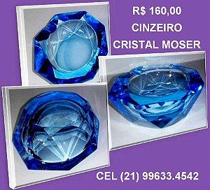 CINZEIRO ANTIGO, CRISTAL MOSER -LAPIDADO -AZUL- OCTOGONAL 7,5 cm