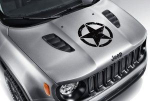 Adesivo estrela militar padrão Willys para capô Jeep Renegade
