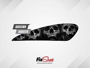Par de Adesivos Gota Skull Caveira Pb P/ Tanque Harley Davidson XR1200x