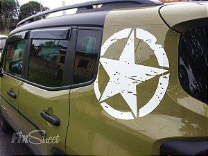 Par de adesivos Estrela Militar Jeep Willys para coluna
