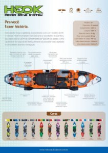 CAIAQUE HOOK - caiaque individual  preparado para montagem de motor à pedal e de motor à jato ou motor elétrico.