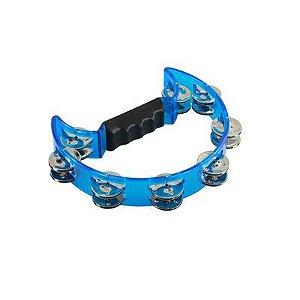 Pandeiro Meia Lua de Policarbonato Cristal Azul - Izzo