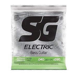 Encordoamento .040 para contrabaixo elétrico 4 cordas tensão extra leve - SG