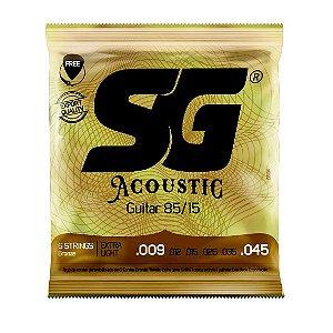 Encordoamento .009 aço bronze 85/15 para violão com palheta e 1ª MI grátis - SG