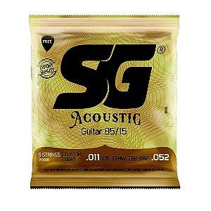 Encordoamento .011 aço bronze 85/15 para violão com palheta grátis - SG