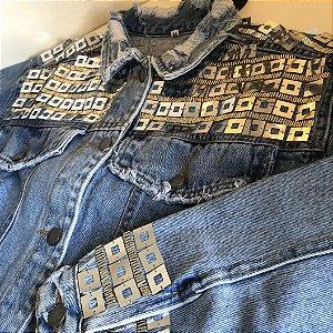 Jaqueta Jeans Paetê Rock Glam