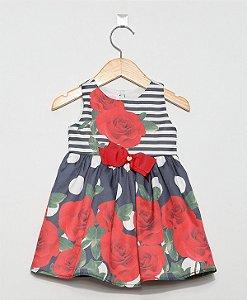 2593 Vestido Infantil Rosas Bolas e Listras Marinho