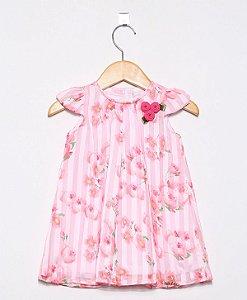 1532 - Vestido BB Rosa Estampado Flores