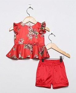 1515 - Conjunto Short Bebe Floral Vermelho